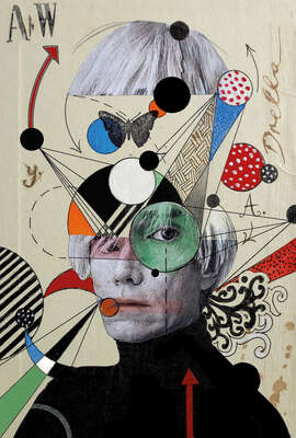 curated collage  artworks: Anti-pop Andy by Loui Jover