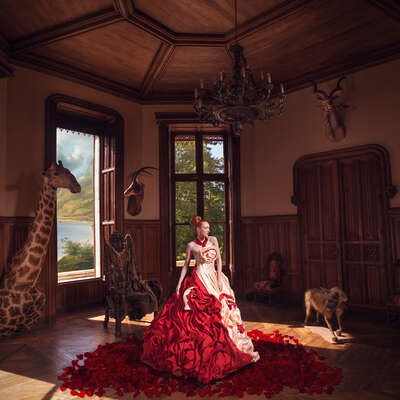 animal wall art:  Crimson Queen by Miss Aniela