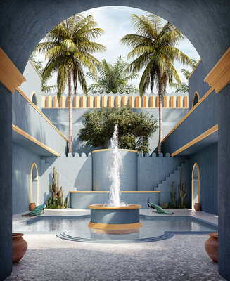 water art photography:  Blue Riad by Massimo Colonna