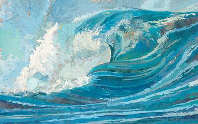 Curated blue artworks: Irene's Wave by Matthew Cusick