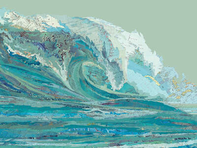 Bedroom Wall: Art Arrangements: Mylan's Wave by Matthew Cusick