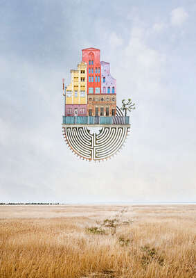curated surreal collage artworks: Unsere Reise Zum Ornitologenkongress by Matthias Jung