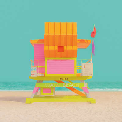 Curated pastel artworks: The Modern Paradise - Miami Beach 5 by Mijoo Kim & Minjin Kang