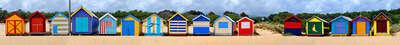 Beach wall art: Brighton Beach Huts II by Michael Warrilow