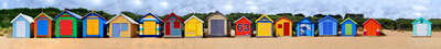 Beach wall art: Brighton Beach Huts III by Michael Warrilow