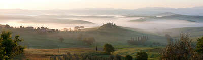 Landscape Print Panoramas: Pienza Gold by Peter Adams