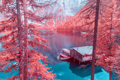 Farmhouse and Country Style Artworks: Infrared Lake Braies I by Paolo Pettigiani