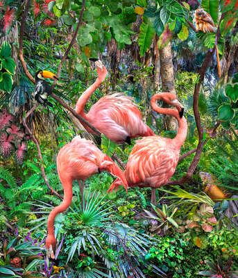 animal wall art:  Three Flamingos and Assorted Admirers by Pat Swain