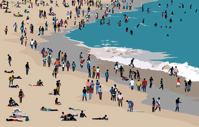 figurative art:  Beach Scene IV by Patrick Tschudi