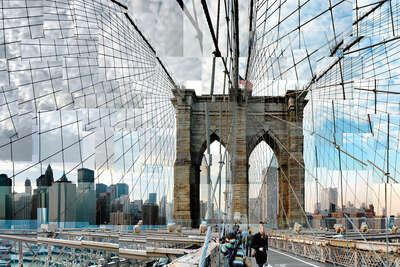 Curated Lumas Architecture Prints: Brooklyn Bridge Crossing by Pep Ventosa
