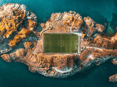 Sports wall art, Muhammad Ali:  Lofoten Soccer Field by Peter Yan