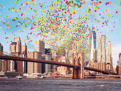water art photography:  Brooklyn Bridge Balloons II by Robert Jahns
