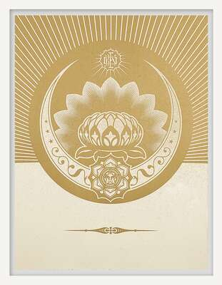 Obey Lotus Crescent (White & Gold) von Shepard Fairey