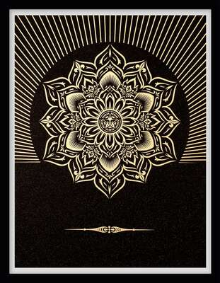 Obey Lotus Diamond (Black & Gold) by Shepard Fairey