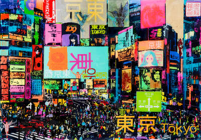 Japanese art: Good Traffic in Shibuya by Sandra Rauch