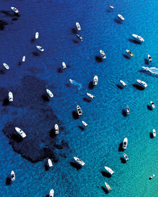 aerial beach photography by Tommy Clarke : Saint Tropez Boats by Tommy Clarke