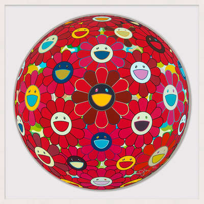 Red Flower Ball (3-D) by Takashi Murakami