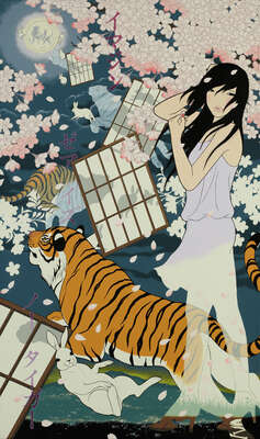Animal Art Prints: No Taigaa (Imagine there is no tiger) by Yumiko Kayukawa